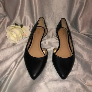 BLACK FAUX LEATHER POINTED TOE FLATS